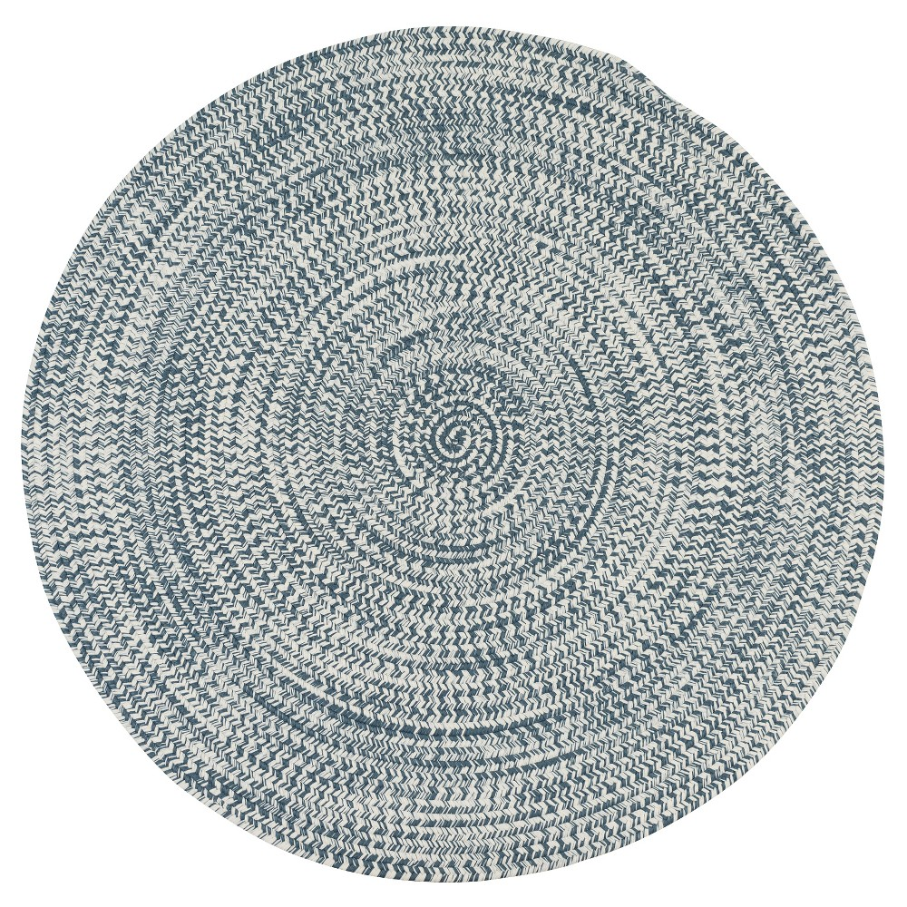 3'X3' Solid Braided Round Area Rug Blue - Colonial Mills