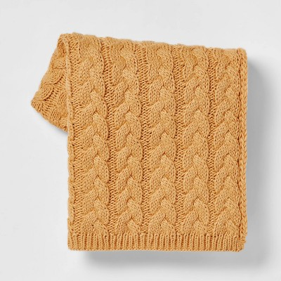 Solid Chunky Cable Knit Throw Blanket Gold - Threshold™