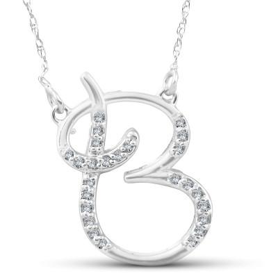 "Pompeii3 1/4ct Diamond ""B"" Initial Pendant 18"" Necklace 14K White Gold"