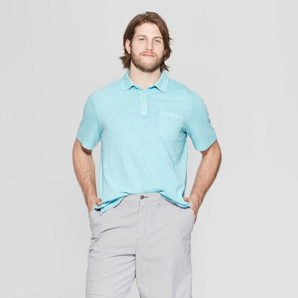 a2a69b81c55 Mens Big Tall Regular Fit Short Sleeve Jersey Polo Shirt Goodfellow Co  Belize Blue 4XBT