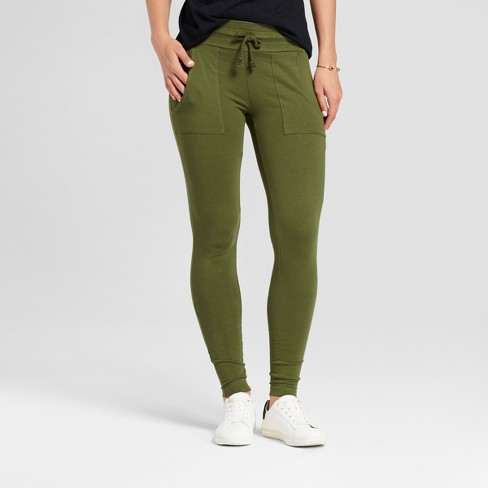 Women's Leggings Drawcord Knit Pants with Pockets - Alison Andrews Olive - image 1 of 2