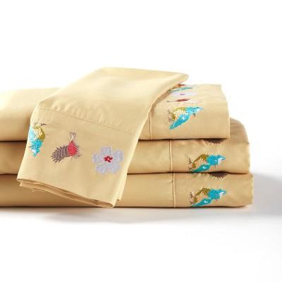 Lakeside Spring Bird Whisper Bedding Sheets Set - Queen - Dijon - 4 Pieces