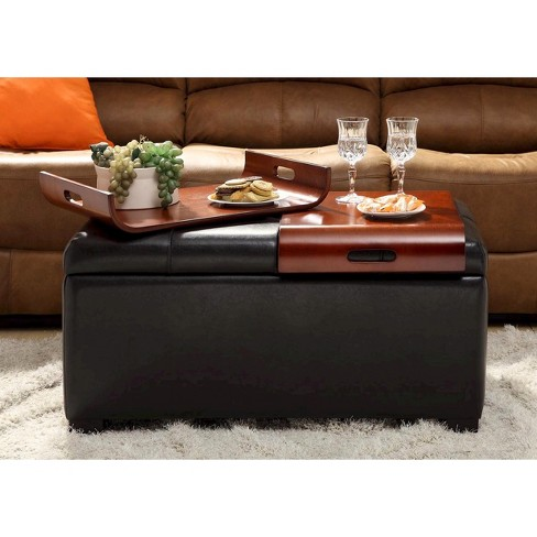 Espresso Storage Ottoman With Trays Convenience Concepts