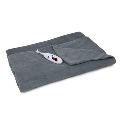 "62"" x 50"" Microplush Electric Throw Blanket Charcoal Gray - Biddeford Blankets"