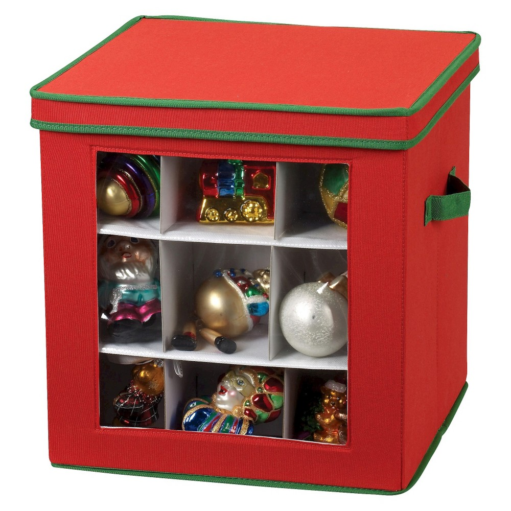 Image of Household Essentials 27 Pc. Holiday Ornament Storage, Red