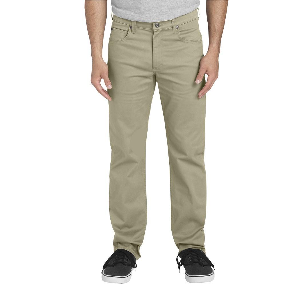 Dickies Men's Flex Twill Regular Straight Fit 5-Pocket Pants - Rinsed Desert Sand 30x32