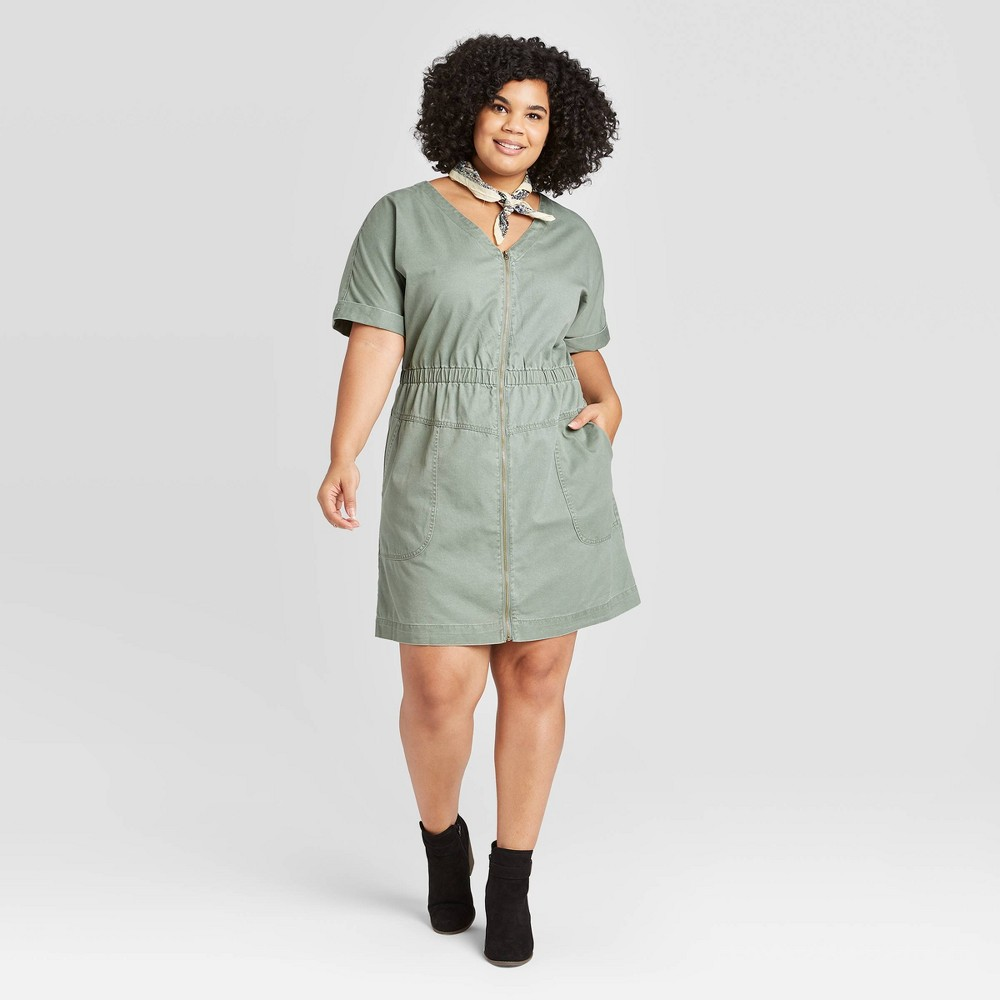 Women's Plus Size Short Sleeve V-Neck Front Zip Elastic Waist Dress - Universal Thread Green 1X was $27.99 now $19.59 (30.0% off)