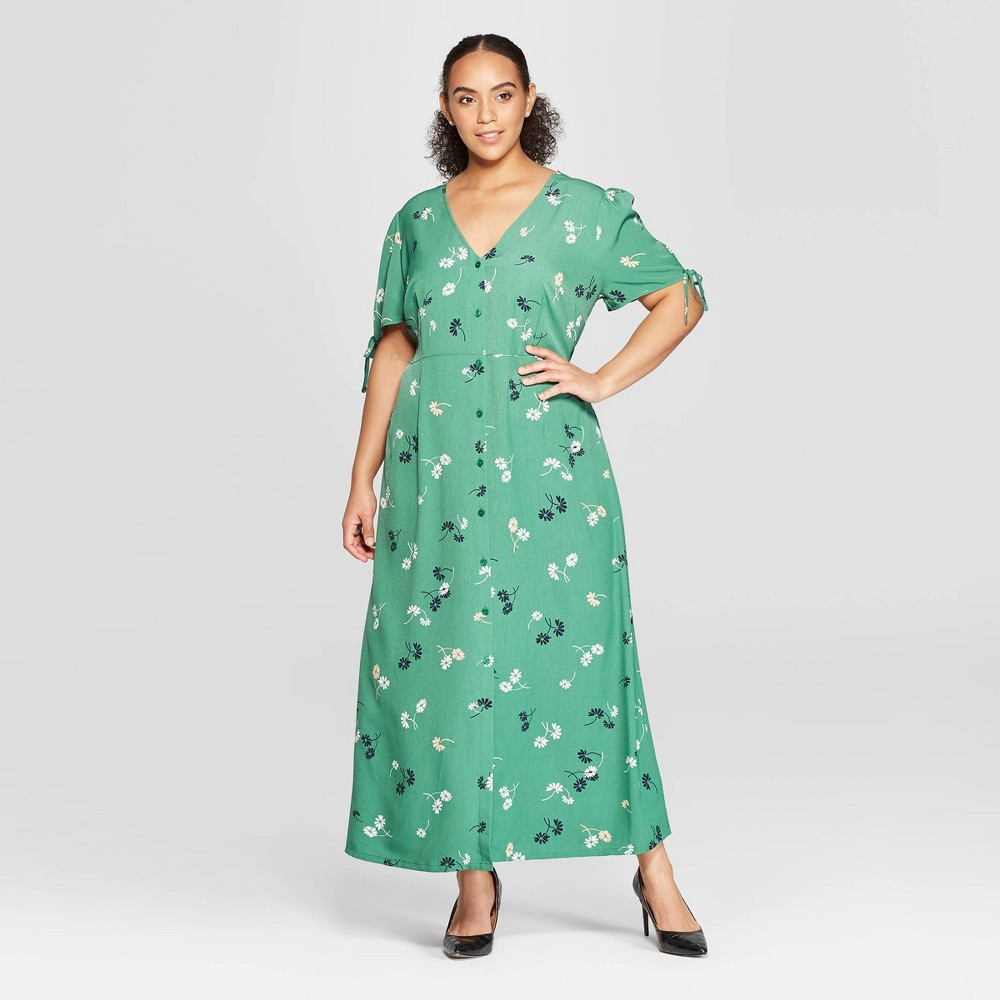 Women's Plus Size Floral Print Short Tie Sleeve V-Neck Button Detail Maxi Dress - Who What Wear Green 1X