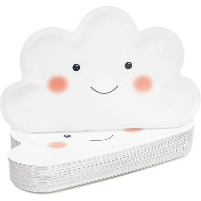 Sparkle and Bash 48 Pcs White Cloud Disposable Party Paper Plates Girl Boy Baby Shower Birthday Supplies 10 in.
