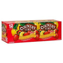 Country Time Strawberry Lemonade - 12pk/12 fl oz Cans