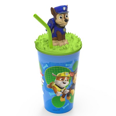 PAW Patrol Marshall 15oz Plastic Cup with Lid and Straw Blue/Green - Zak Designs