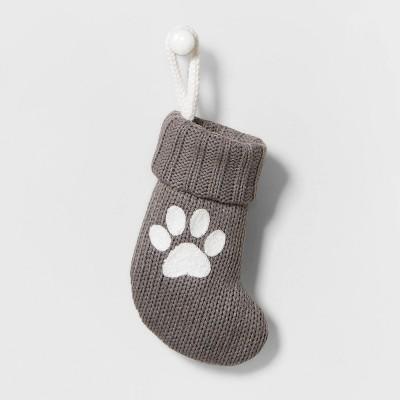 Mini Knit Monogram Christmas Stocking Paw Print - Wondershop™