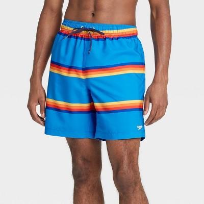 "Speedo Men's 8"" Striped Swim Trunks - Blue"