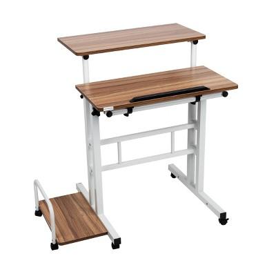 Oak Rolling Sitting/Standing Desk with Side Storage - Mind Reader