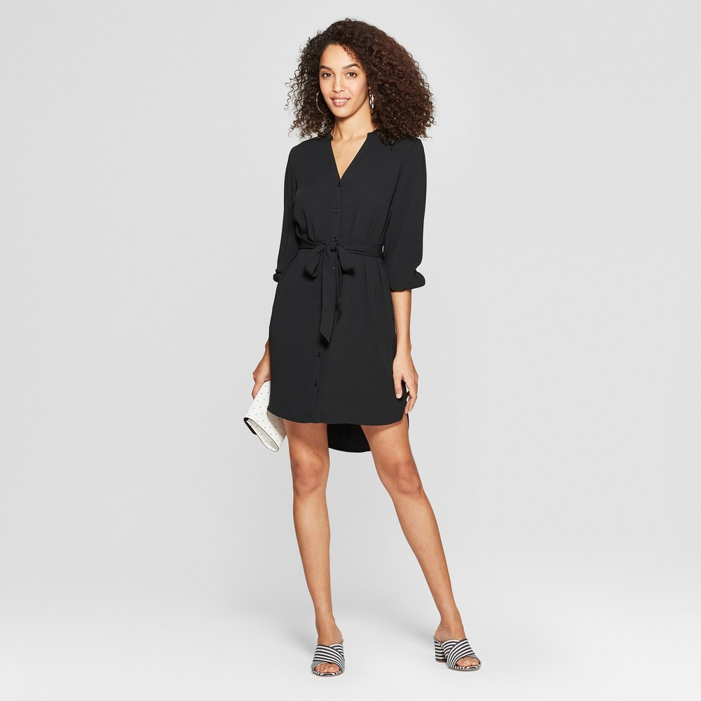 Women's Long Sleeve Crepe Shirtdress - A New Day Black M