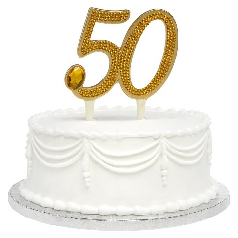 50th Anniversary Cake Topper Gold