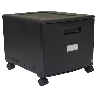Storex 1-Drawer File Cabinet with Wheels - Black