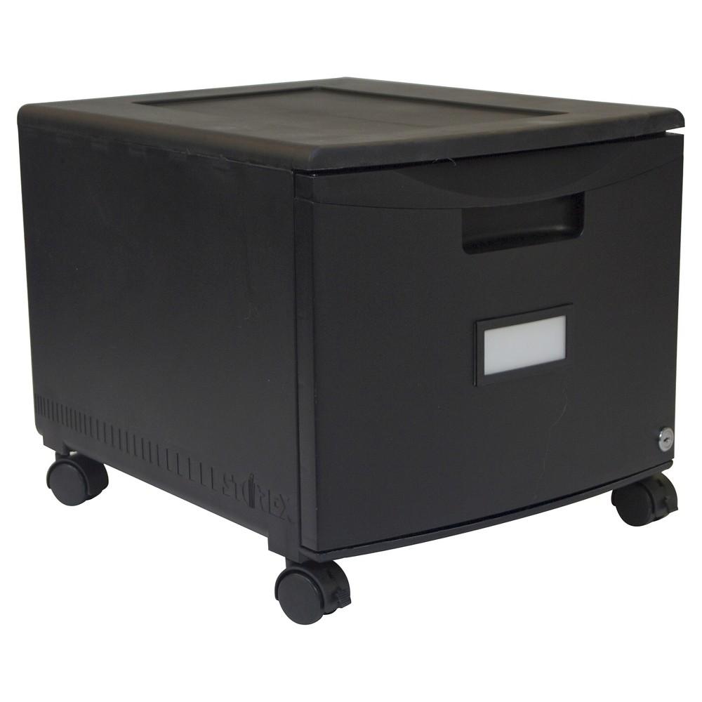 Storex File Cabinet on Wheels, 1 Drawer - Black