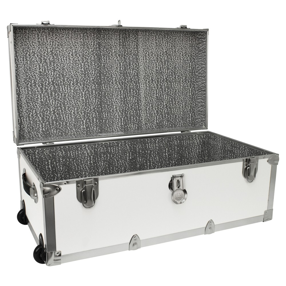Image of Advantus Mercury Modern Footlocker Storage Trunk With Wheels White