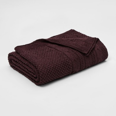 Full/Queen Cable Knit Chenille Blanket Violet - Threshold™