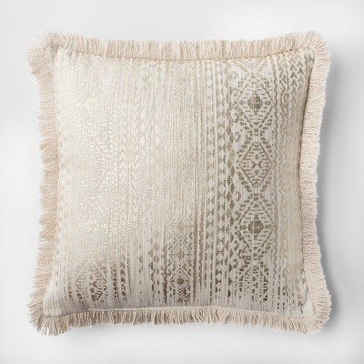 Fringe Printed Throw Pillow (18 )- White/Gold - Threshold™