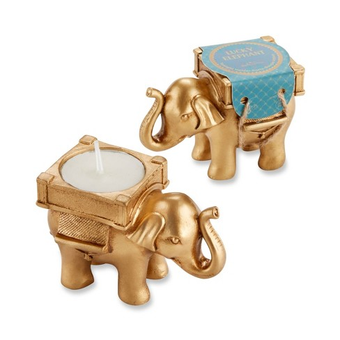 12ct Lucky Elephant Golden Tealight Holders - Gold - image 1 of 3
