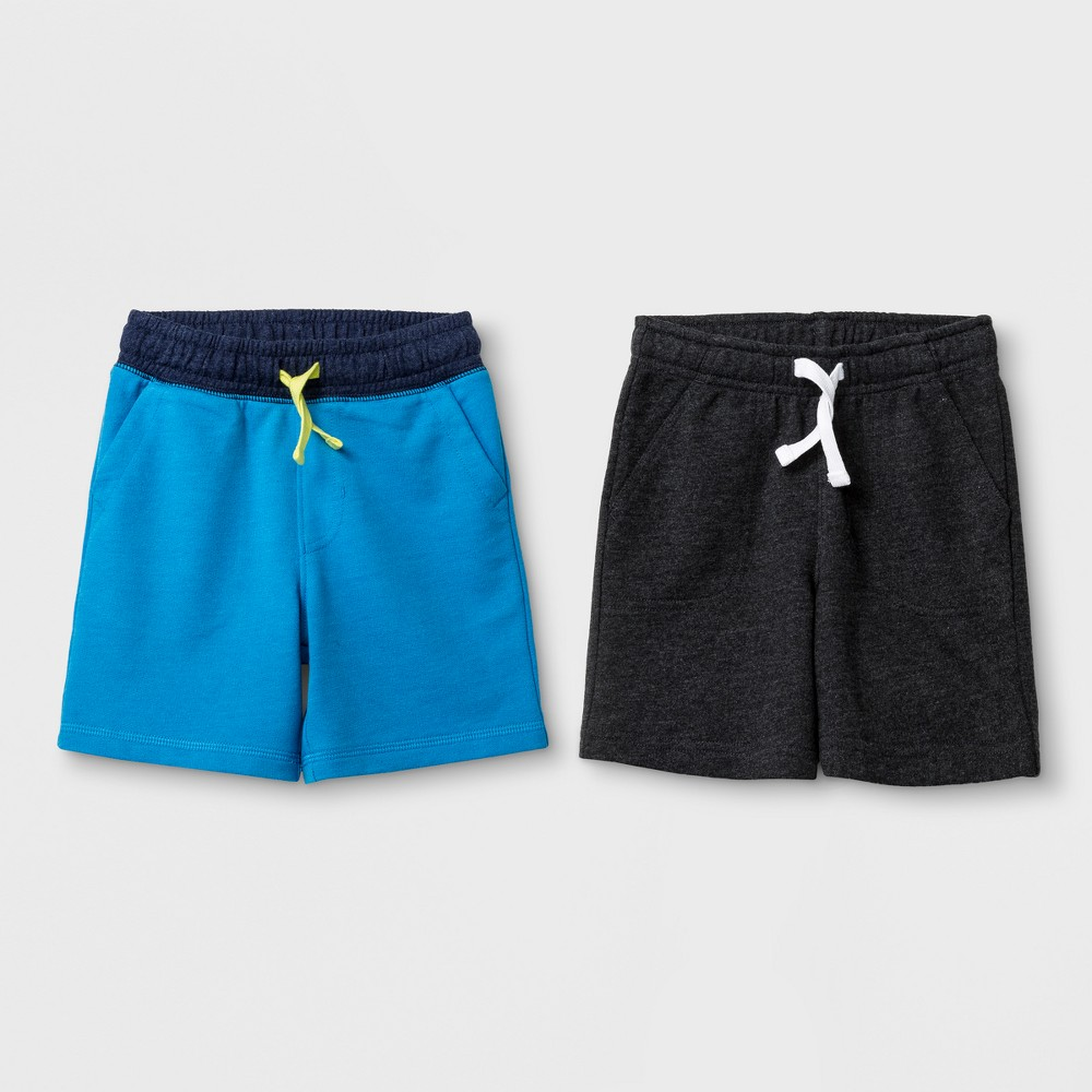 Image of Toddler Boys' Pull-On Shorts 2pk - Cat & Jack Blue & Dark Gray 18 Months, Toddler Boy's, Size: 18M