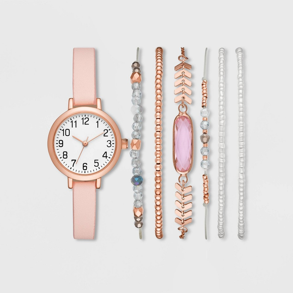 Image of Women's Full Arabic Strap Watch Set - A New Day Rose Gold/White, Size: Small, Pink