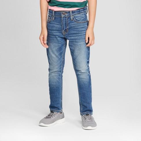Boys' Stretch Taper Fit Jeans - Cat & Jack™ Light Blue - image 1 of 3