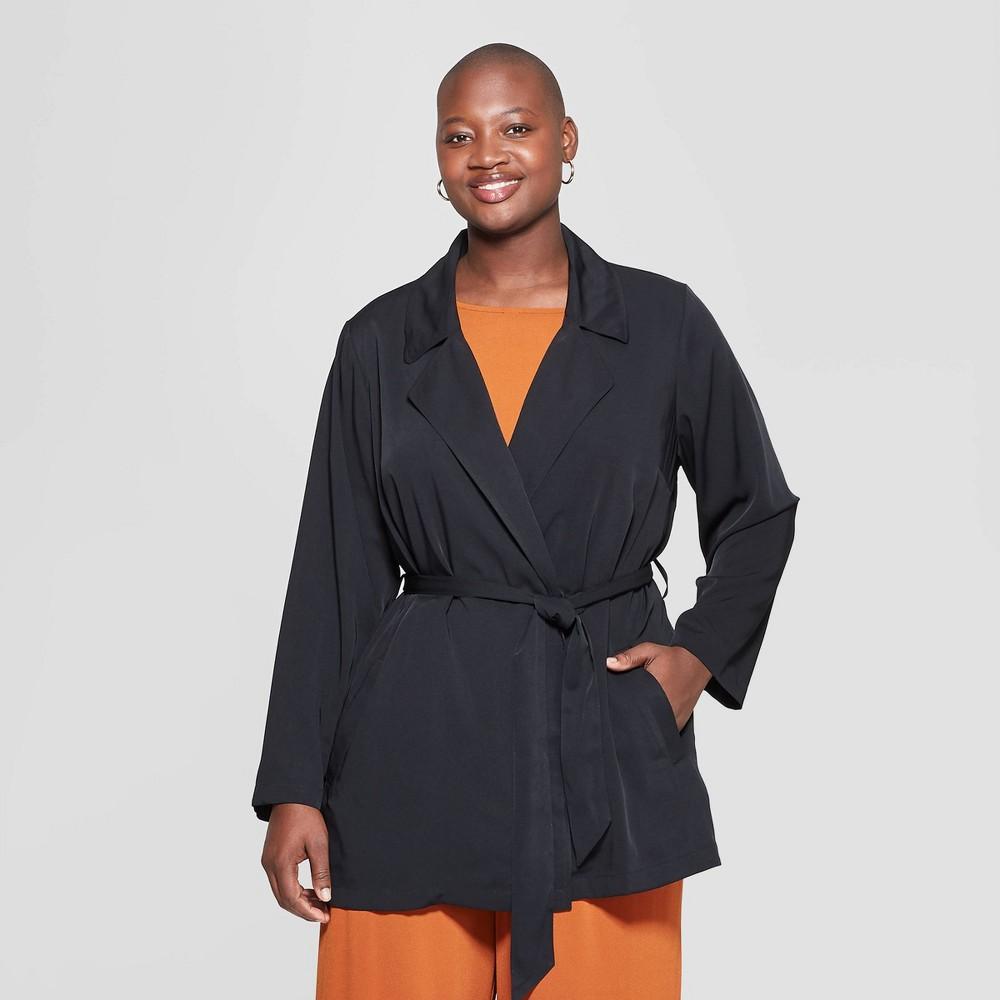 Women's Plus Size Drapey Trench Coat - Ava & Viv Black 3X