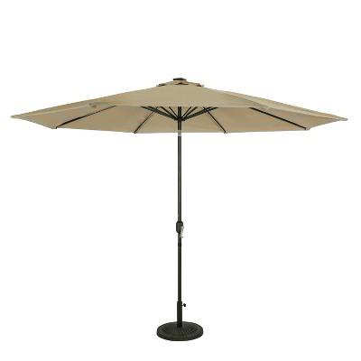 11' Calypso II Market Patio Umbrella with Solar LED Strip Lights Champagne/Taupe - Island Umbrella