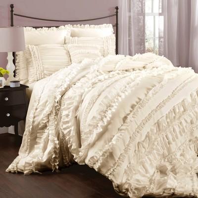 Belle Ruffle Comforter Set (Queen)Ivory 4pc - Lush Décor
