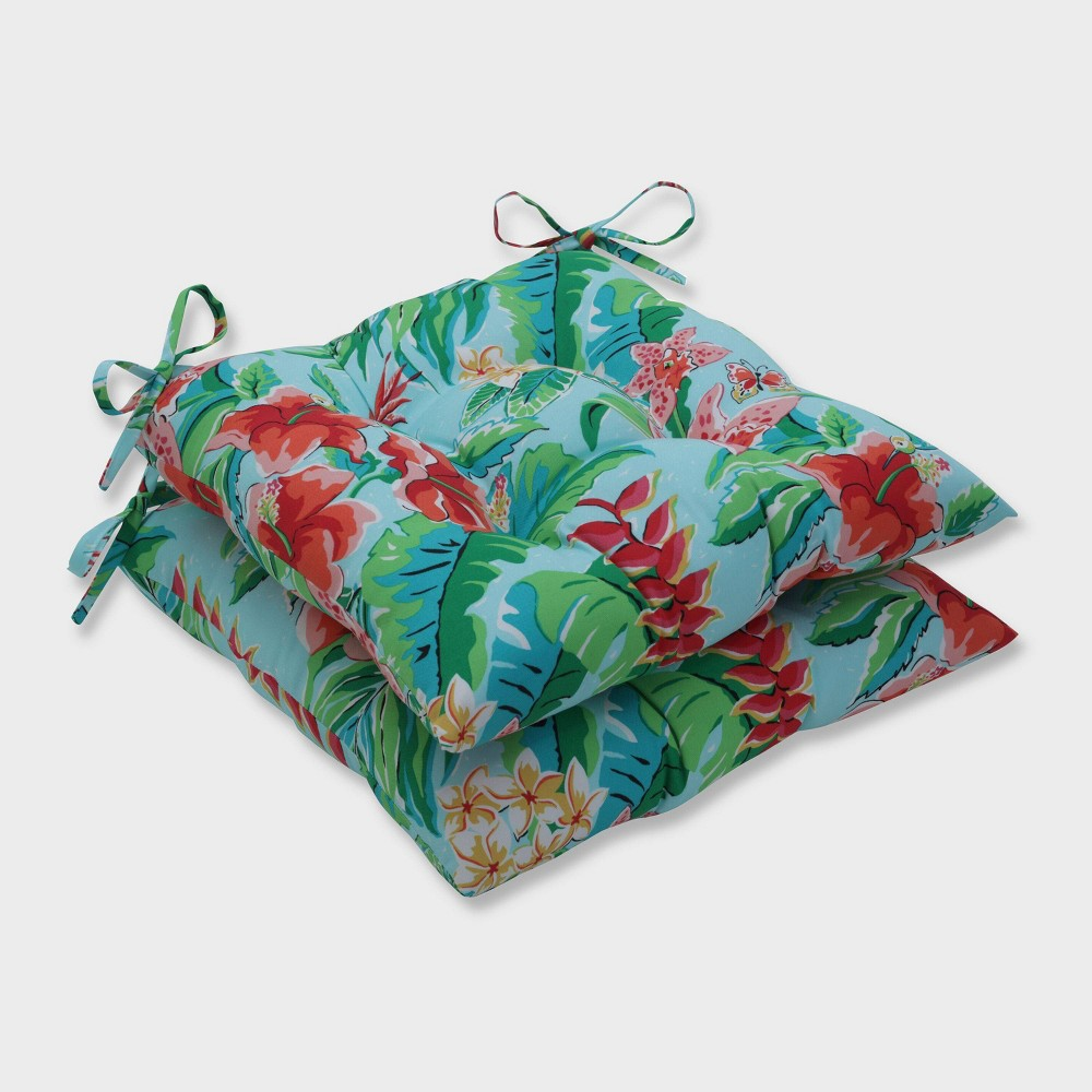 2pk Tropical Paradise Wrought Iron Outdoor Seat Cushions Blue - Pillow Perfect