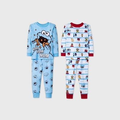 Baby Boys' 4pc Sesame Street Pajama Set - Blue 12M