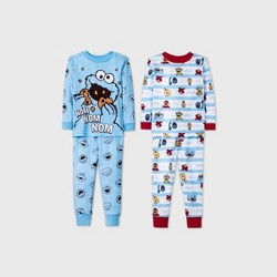 Toddler Boys' 4pc Sesame Street Pajama Set - Blue
