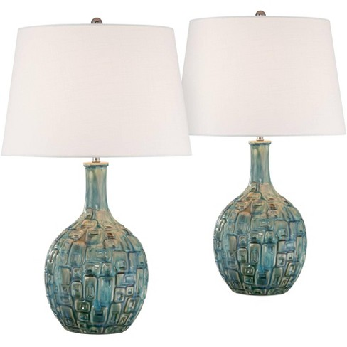 360 Lighting Mid Century Modern Table Lamps Set of 2 Ceramic Teal Glaze Handcrafted White Empire Shade for Living Room Bedroom - image 1 of 1