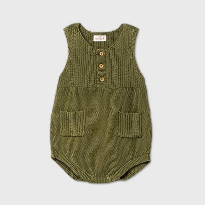 Baby Boys' Sleeveless Henley Sweater Romper - Cat & Jack™ Green 3-6M