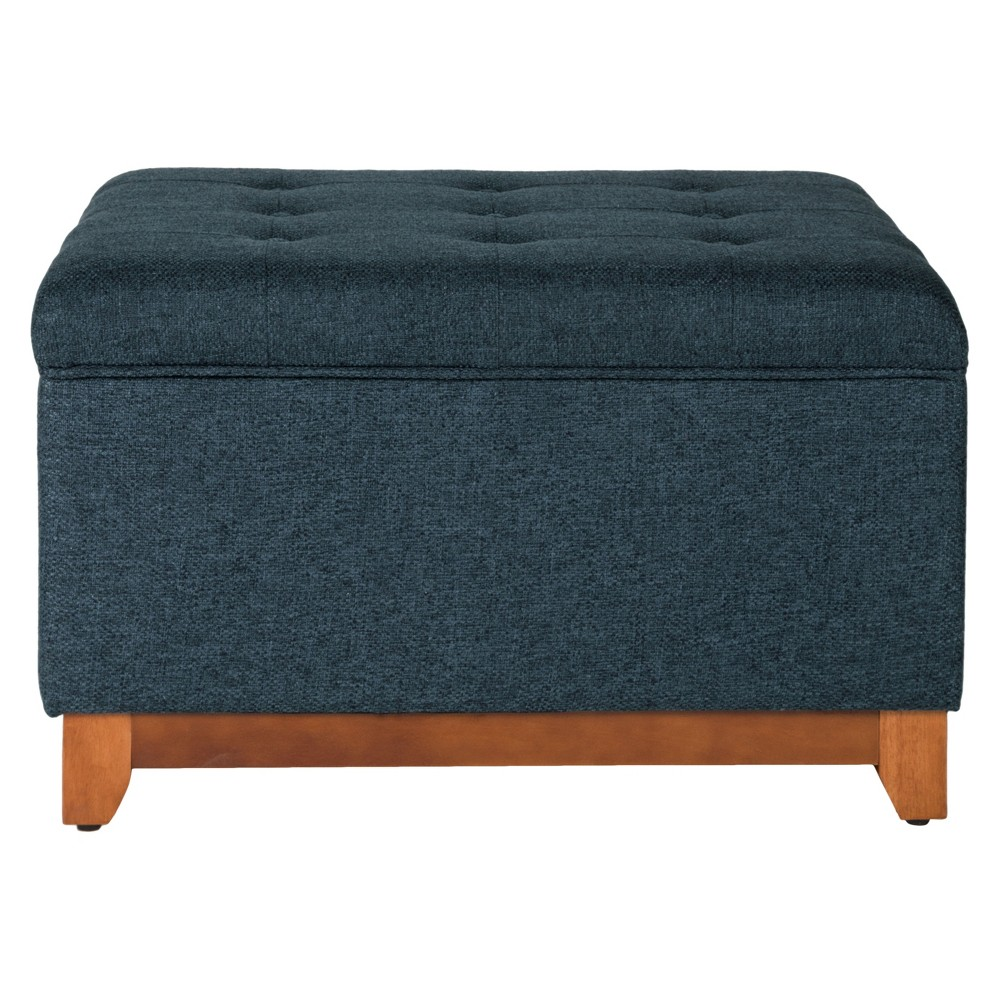 Storage Bench Navy (Blue) - HomePop Use this Chunky Textured Storage Ottoman to store extra pillows or blankets in a bedroom, hide toys or game controllers in the family room, or add seating to a living room. This dark navy blue ottoman can also hide accessories in an entryway or mudroom. With deep button tufting, a hinged lid, and a wood base in a honey oak finish, this multifunctional bench is the perfect accent piece for any home. Easy to assemble and maintain. Gender: Unisex.