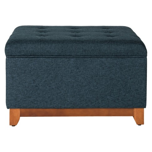 Magnificent Storage Bench Navy Homepop Creativecarmelina Interior Chair Design Creativecarmelinacom