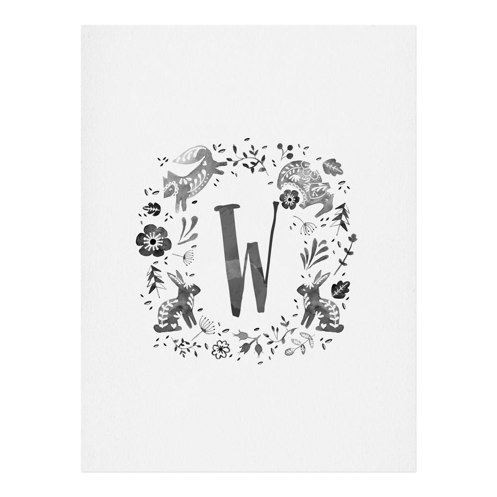 "Image of ""11""""x14"""" Wonder Forest Folky Forest Monogram Letter """"W"""" Art Print Unframed Wall Poster Gray - Deny Designs"""