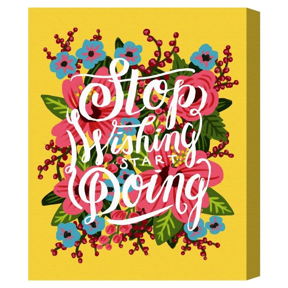 "Image of ""Oliver Gal Unframed Wall """"Start Doing"""" Canvas Art (16x12), Multicolored"""