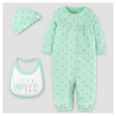 Baby Girls' 3pc Converter Gown Set - Just One You™ Made by Carter's® Mint Hearts 3M