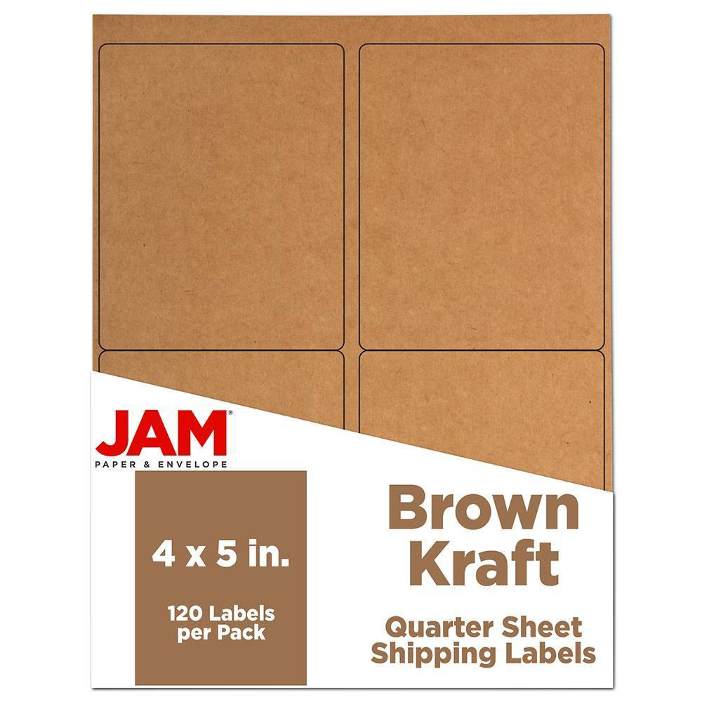 """Image of """"JAM Paper Shipping Labels 4"""""""" X 5"""""""" 120ct - Brown"""""""