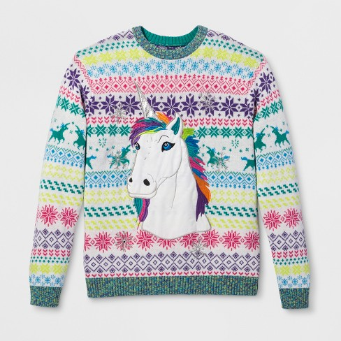 33 Degrees Mens Ugly Christmas Rainbow Unicorn Long Sleeve Pullover