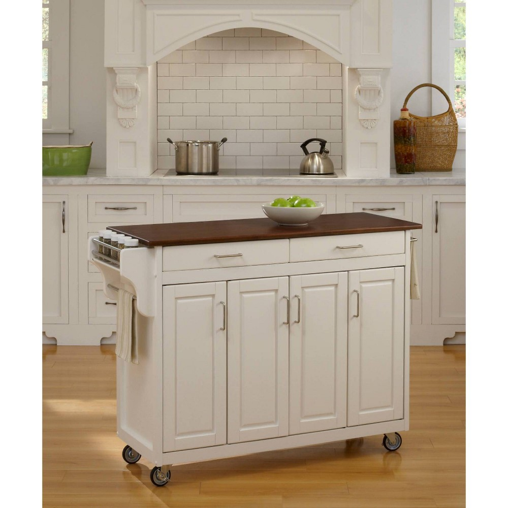 Kitchen Carts And Islands with Wood Top Red/White - Home Styles