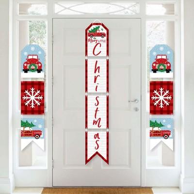 Big Dot of Happiness Merry Little Christmas Tree - Hanging Vertical Paper Door Banners - Red Christmas Party Wall Decoration Kit - Indoor Door Decor