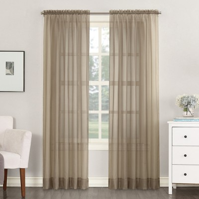 Emily Sheer Voile Rod Pocket Curtain Panel Taupe 59 x63  - No. 918