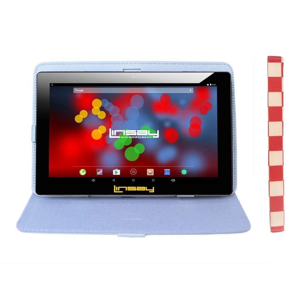 "Linsay 10.1"" Quad Core 1280x800 IPS Screen Tablet with Square Case - White/Red, Black"