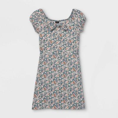 Girls' Woven Tie-Front Floral Short Sleeve Dress - art class™