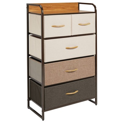 mDesign Tall Dresser Storage Chest, 5 Fabric Drawers